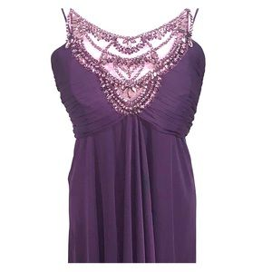 Betsy Adam plum colored sequined formal prom dress
